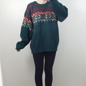 Eddie Bauer 100% wool Christmas sweater